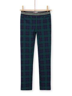 Pantalon milano bleu et vert à imprimé tartan enfant fille MAJOMIL3 / 21W90113PANC243