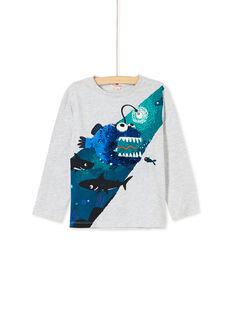 Tee-shirt gris sequins réversible et phosphorescent enfant garçon KOECOTEE4 / 20W902H3TML943