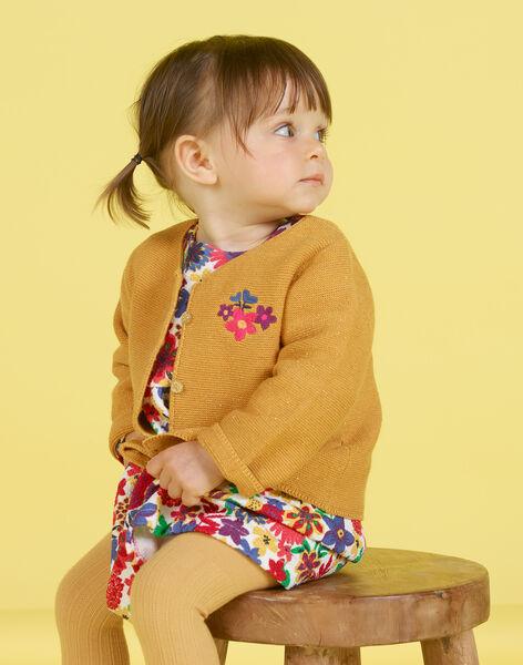 Cardigan jaune moutarde brodé bébé fille MIMIXCAR / 21WG09J1CARB106