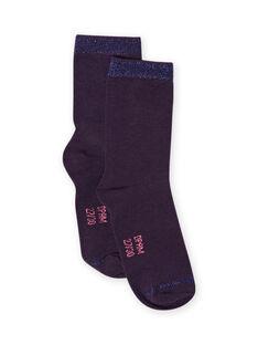 Chaussettes unies bleu nuit enfant fille MYAJOCHO4 / 21WI0116SOQH703
