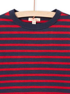 T-shirt manches longues à rayures rouges et bleu marine enfant garçon MOJOTIRIB2 / 21W90224TML505