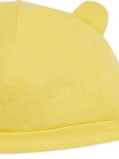 Bonnet naissance jaune à oreilles LOU1BON2 / 21SF42H3BNA103