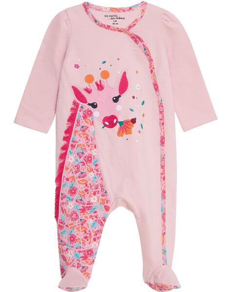 Grenouillère bébé fille en molleton rose pâle JEFIGREGIR / 20SH13U3GRE321