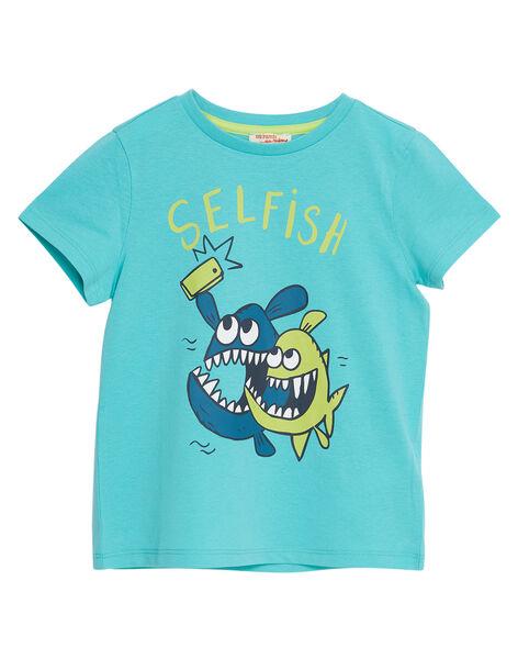 Tee shirt garçon manches courtes turquoise selfy poissons JOJOTI7 / 20S902T2D31204