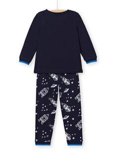 Pyjama phosphorescent enfant garçon en molleton gratté motif fusée LEGOPYJFUZ / 21SH1213PYJ705