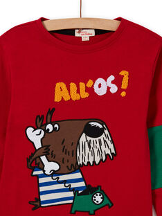 T-shirt rouge motif chien fantaisie enfant garçon MOMIXTEE4 / 21W902J2TML505
