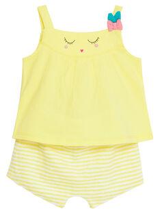 Ensemble de plage jaune bébé fille JIPLAENS1 / 20SG09X2ENSB104