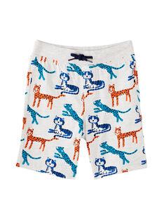 Ensemble de plage garçon tee shirt rouge et bermuda imprimé gris chiné panthère JOPLAENS5 / 20S902X5ENS406
