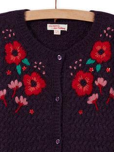 Cardigan manches longues à broderies fleuries enfant fille MAFUNCAR2 / 21W901M1CARH703