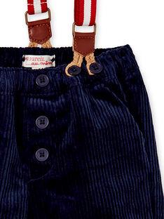 Pantalon en velours bleu marine avec bretelles bébé garçon KUNOPAN2 / 20WG10Q1PAN070