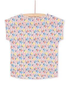 T-shirt à rayures colorées imprimé fleurs enfant fille LAHATI2 / 21S901X2TMC001