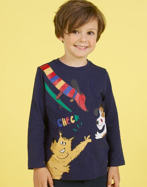 T-shirt bleu marine motifs chiens fantaisie enfant garçon MOMIXTEE5 / 21W902J4TML717