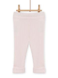 Legging uni rose pâle côtelé bébé fille MYIJOLEGCO2 / 21WI0913CAL632