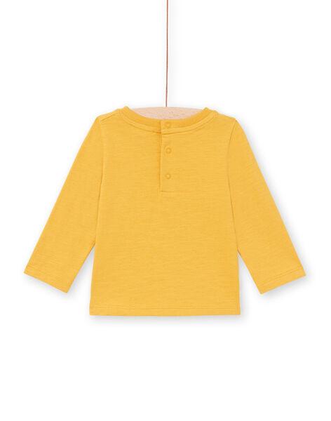 T-shirt manches longues moutarde à motif renard et forêt bébé garçon MUSAUTEE2 / 21WG10P2TMLB106