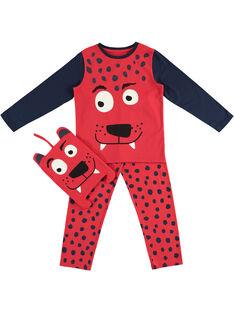 Pyjama déguisement rouge et marine enfant garçon avec son range-pyjama JEGOPYJMAN2 / 20SH12L4PYGF513