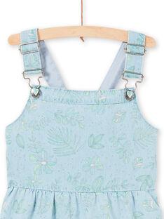 Robe salopette en jean bleu clair imprimé feuillages enfant fille LAVEROB4 / 21S901Q3ROBP272