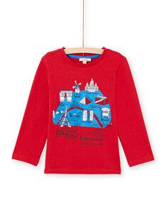 T-shirt manches longues rouge motif carte de Paris enfant garçon MOJOTEE3 / 21W9022ATML505