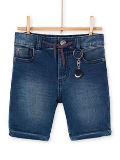 Bermuda en denim bleu enfant garçon LOHABER1 / 21S902X2BERP274