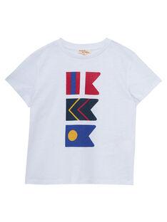 Tee-shirt blanc imprimé drapeaux garçon JOWETI2 / 20S90292TMC000