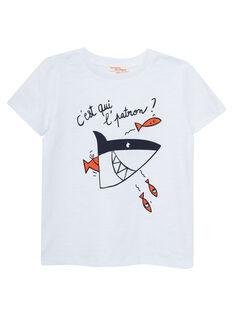 Tee shirt garçon manches courtes blanc imprimé requin JOBOTI7 / 20S902H7TMC000