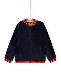 Cardigan teddy réversible bleu nuit enfant fille MAMIXCAR2 / 21W901J1CARC205