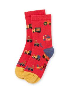 Chaussettes rouges motifs véhicules enfant garçon MYOCOCHO / 21WI02L1SOQF521