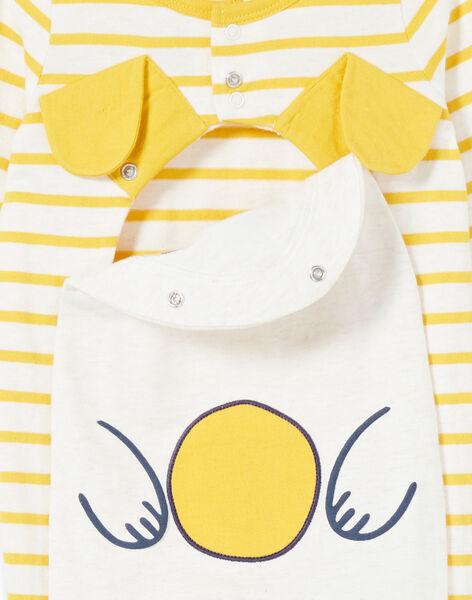 Grenouillère layette garçon en jersey rayé motif chiot LEGAGRECHI / 21SH1457GRE006