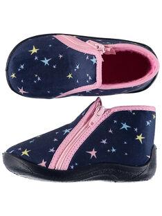 Chausson étoiles velours bleu made in France  bébé fille GBFBOTSTAR / 19WK37Z6D0A070