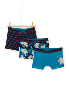 Lot de 3 boxers assortis motifs ours enfant garçon MEGOBOXOURS / 21WH12C2BOX705