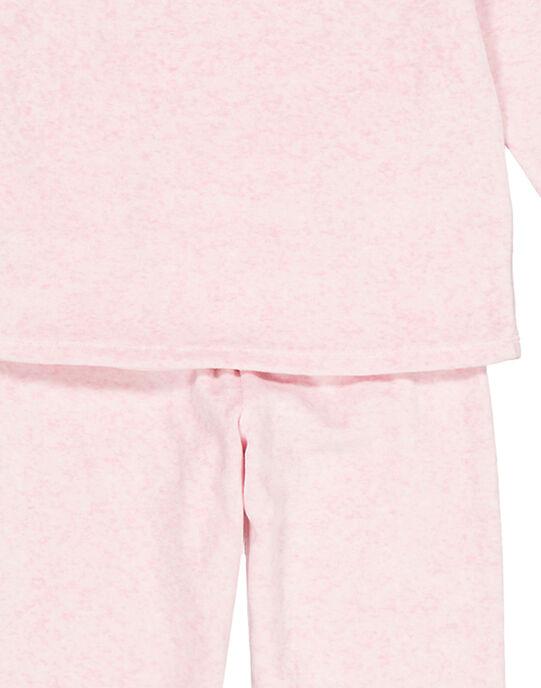 Pyjama rose chiné en velours enfant fille GEFAPYJFLA / 19WH11N7PYJD314
