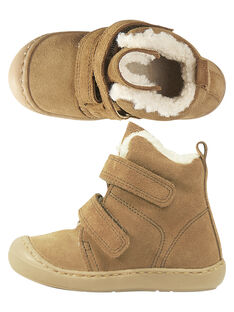 Boots flexible croûte de cuir marron bébé garçon  GBGBOOTFLEX / 19WK38Y1D0D080
