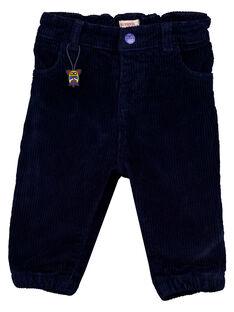 Pantalon velours bleu nocturne bébé garçon GUVIOPAN1 / 19WG10R2PAN713