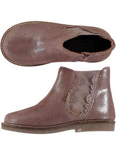 divers styles vente usa en ligne promotion Boots en croûte de cuir rose pailletée réhaussée par une bande élastique  avec des croquets sur le bord. Zip latéral pour faciliter l'enfilage.
