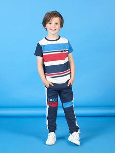 Bas de jogging bleu marine motif football enfant garçon LOHAJOG / 21S902X1JGB705