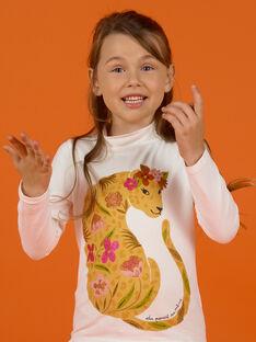 Sous-pull écru à motifs léopard et fleurs enfant fille MASAUSOUP / 21W901P1SPL001