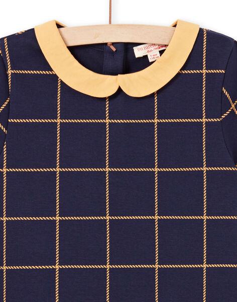 Robe manches courtes bleu nuit à carreaux jaunes enfant fille MAJOROB1 / 21W90122ROBC205