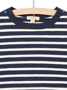 T-shirt manches longues à rayures écrues et bleu marine enfant garçon MOJOTIRIB1 / 21W90226TML001
