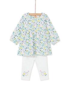 Ensemble robe chemise à fleurs et legging bébé fille KIBOENS / 20WG09N1ENS001