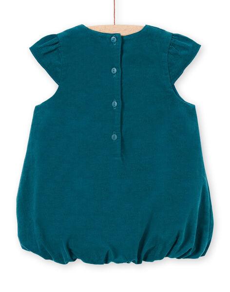 Robe boule bleu canard motif fantaisie à sequins bébé fille MITUROB2 / 21WG09K2ROB714