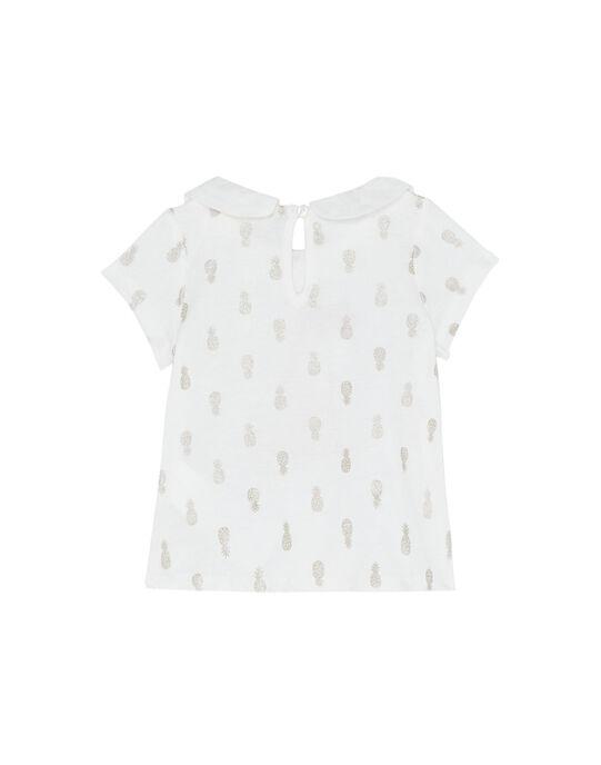 Tee shirt imprimé écru bébé fille JIDUBRA / 20SG09O1BRA001