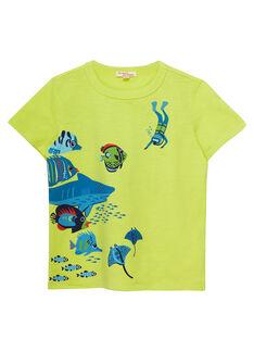Tee shirt manches courtes jaune garçon  JOBOTI2 / 20S902H1TMC102