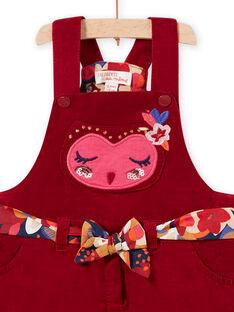 Robe boule rouge motif hibou en velours côtelé bébé fille MIFUNROB2 / 21WG09M3ROB504