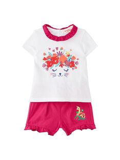 EnsembleT-shirt et short rose fuchsia et blanc bébé fille JIMARENS2 / 20SG09P2ENS000