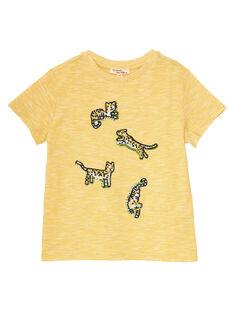 Tee shirt manches courtes jaune garçon avec micro rayures et broderies JOTROTI2 / 20S902F2TMCB116