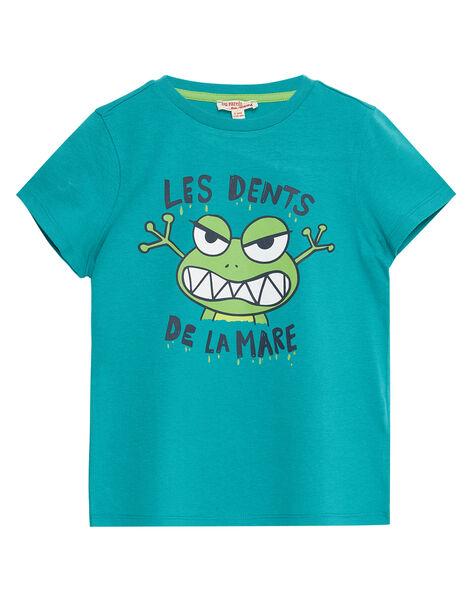 Tee shirt garçon manches courtes vert imprimé grenouille JOJOTI8 / 20S902T1D31600