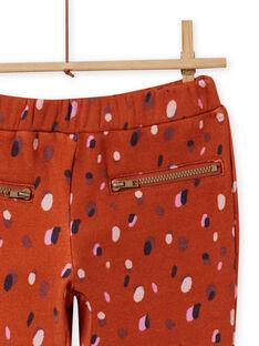 Pantalon fourré caramel imprimé confettis enfant fille MACOMPANT / 21W901L1PAN420