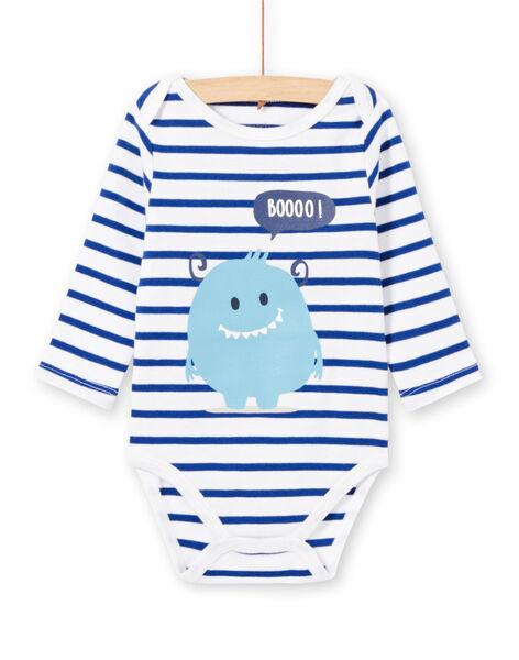 Body blanc manches longues à rayures motif monstre bébé garçon MEGABODMON / 21WH14B3BDL000