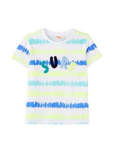 Tee shirt garçon blanc rayures usées imprimées  JOQUATI3 / 20S902R1TMC000