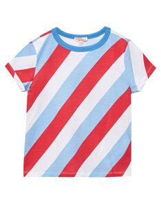 Tee shirt garçon manches courtes rayures tricolore en biais JOCEATI1 / 20S902N1TMC000