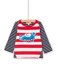 T-shirt bleu nuit à rayures broderie voiture bébé garçon LUHATEE2 / 21SG10X1TMLF517